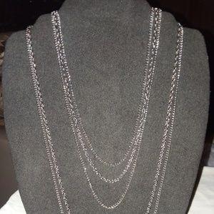 Multi-strand Cascading Silvertone Chain Necklace